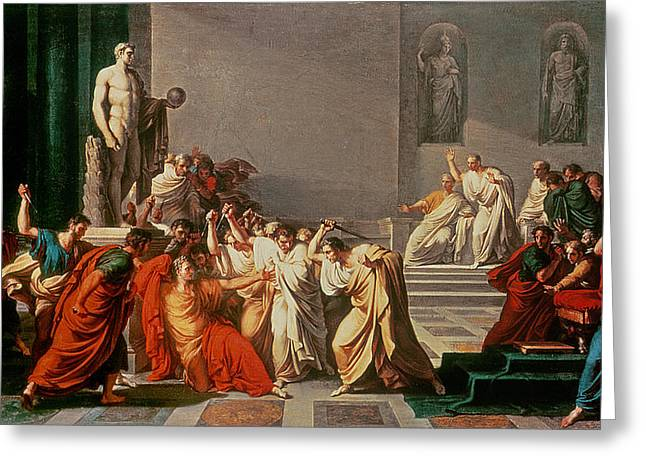 Gangs Greeting Cards - Death of Julius Caesar Greeting Card by Vincenzo Camuccini