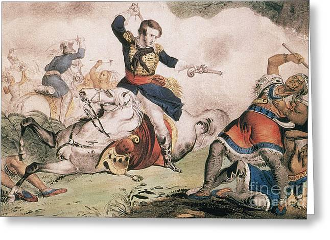 Native American Heroes Greeting Cards - Death Of Tecumseh At Battle Of Thames Greeting Card by Photo Researchers