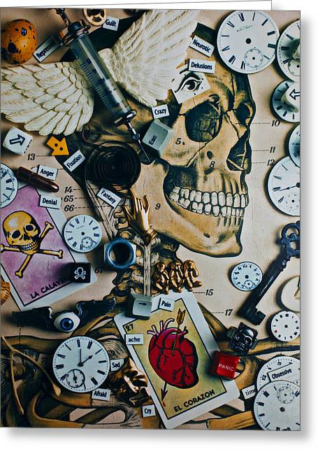 Cross Bones Greeting Cards - Death Skull Greeting Card by Garry Gay