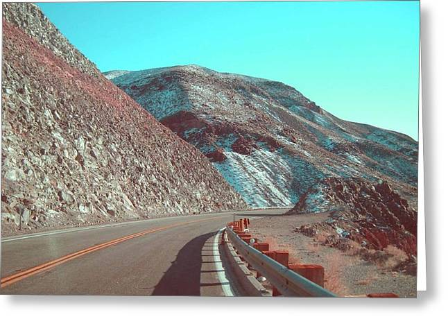 Summer Landscape Photography Greeting Cards - Death Valley Road 2 Greeting Card by Naxart Studio
