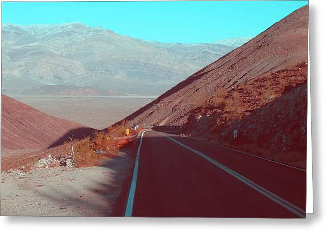 Mountain Road Greeting Cards - Death Valley Road 3 Greeting Card by Naxart Studio