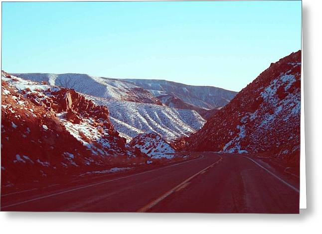 Field. Cloud Greeting Cards - Death Valley Road Greeting Card by Naxart Studio
