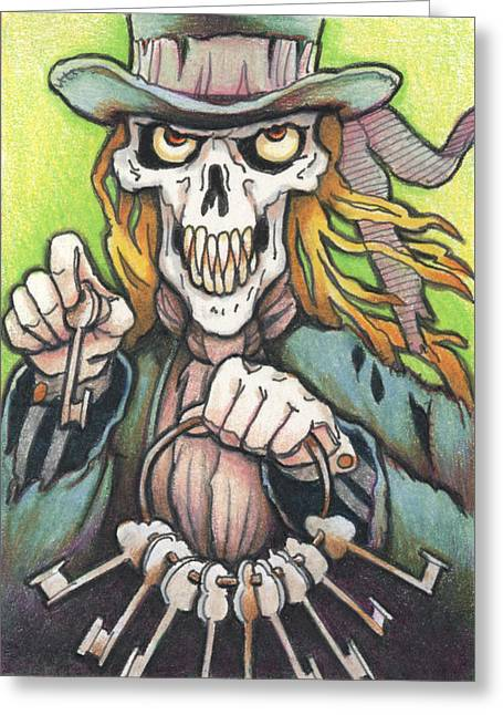 Tophat Greeting Cards - Deaths Doorman Greeting Card by Amy S Turner