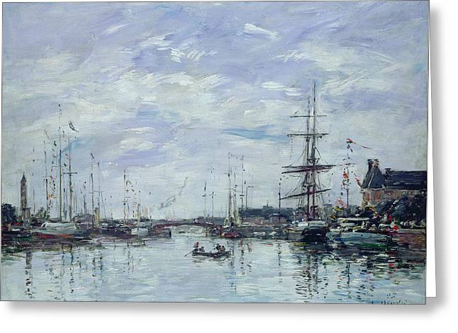 Water Vessels Greeting Cards - Deauville the Dock Greeting Card by Eugene Louis Boudin