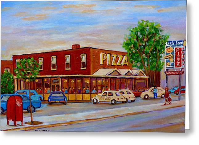 Out-of-date Greeting Cards - Decarie  Tasty  Food  Pizza Greeting Card by Carole Spandau