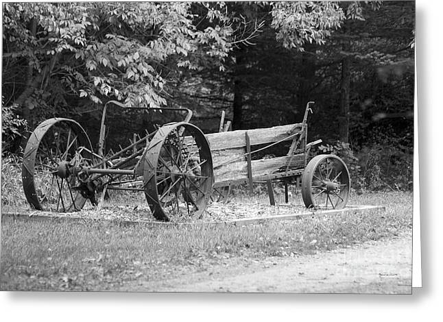 Calcined Greeting Cards - Decaying Wagon Black and White Greeting Card by Thomas Woolworth