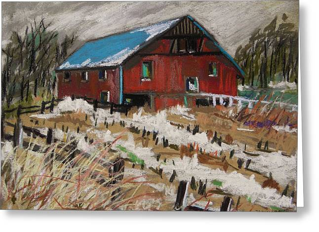Red Roofed Barn Pastels Greeting Cards - December Snow Greeting Card by John  Williams