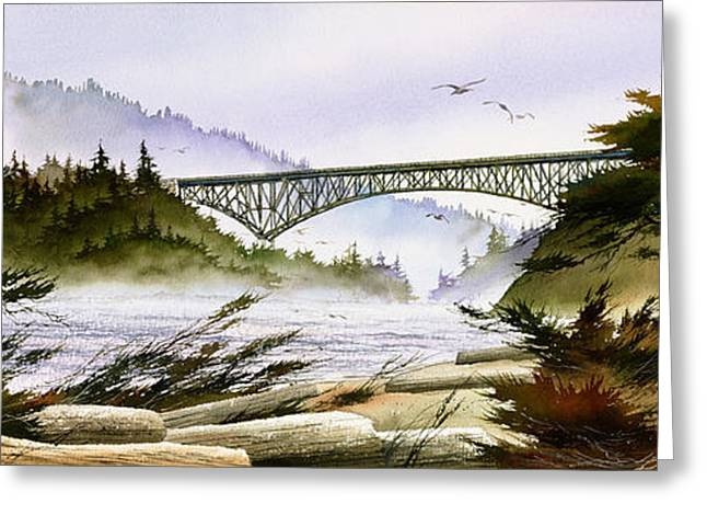 Maritime Print Greeting Cards - Deception Pass Bridge Greeting Card by James Williamson
