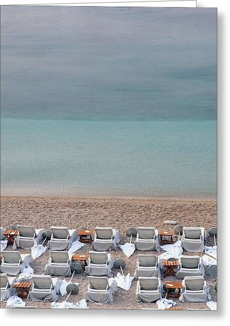 Empty Chairs Greeting Cards - Deck Chairs On Empty Beach Greeting Card by Axiom Photographic