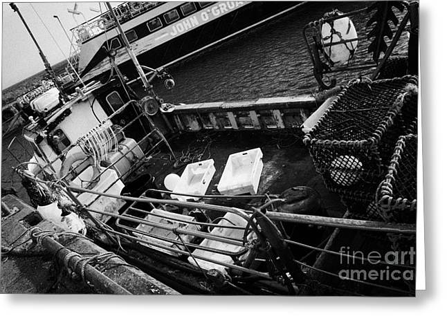 Lobster Pot Greeting Cards - deck of a small fishing boat at John OGroats harbour scotland uk Greeting Card by Joe Fox