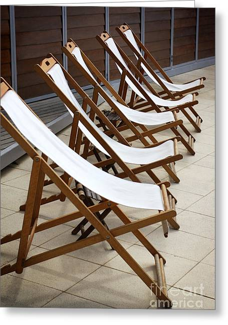 Deck Chairs Greeting Cards - Deckchairs Greeting Card by Carlos Caetano
