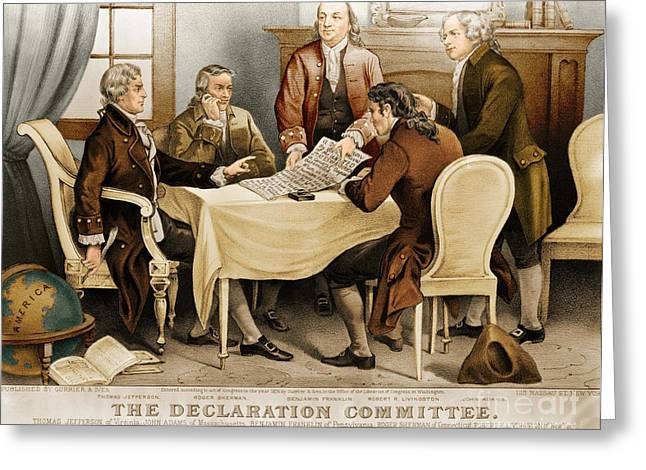 Color Enhanced Greeting Cards - Declaration Committee 1776 Greeting Card by Photo Researchers