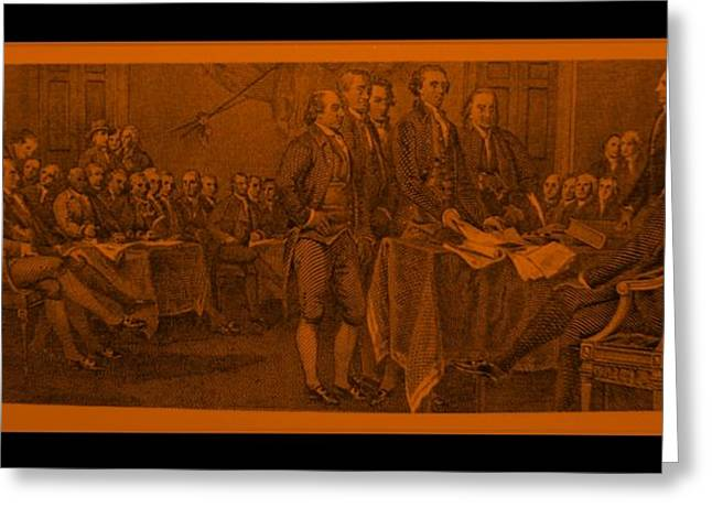 DECLARATION OF INDEPENDENCE in ORANGE Greeting Card by ROB HANS