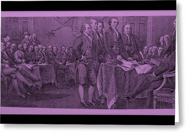 DECLARATION OF INDEPENDENCE in PINK Greeting Card by ROB HANS