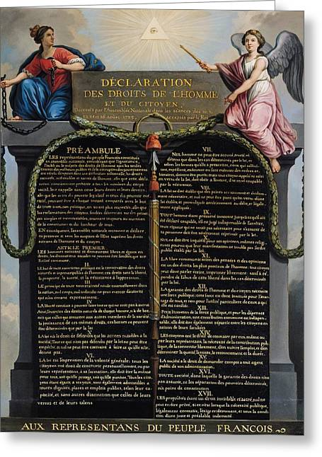 18th Century Greeting Cards - Declaration of the Rights of Man and Citizen Greeting Card by French School