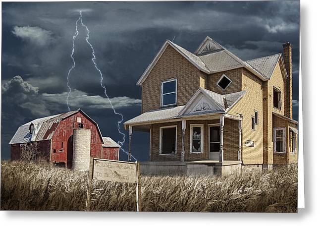 Lightning Wall Art Greeting Cards - Decline of the Small Farm number 6 version 2 Greeting Card by Randall Nyhof