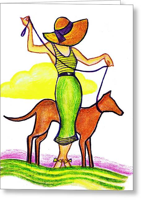 Straw Hat Drawings Greeting Cards - Deco Dog Walker Greeting Card by Mel Thompson