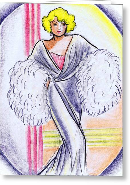 Classic Hollywood Drawings Greeting Cards - Deco Gown with Feathers Greeting Card by Mel Thompson