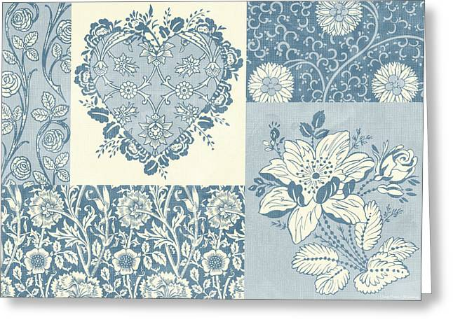 Quilt Greeting Cards - Deco Heart Blue Greeting Card by JQ Licensing