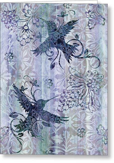 Quilt Greeting Cards - Deco Hummingbird Blue Greeting Card by JQ Licensing