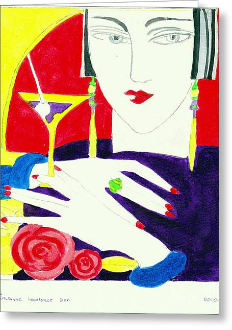 Deco Lady Greeting Card by Susanne Lawrence BA Hons