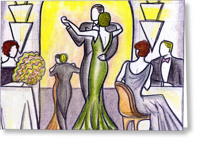 Evening Scenes Drawings Greeting Cards - Deco Nightclub Greeting Card by Mel Thompson