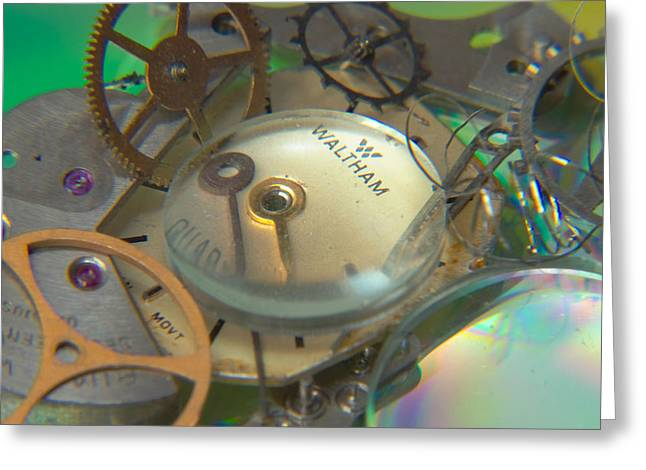 Watch Parts Greeting Cards - Deconstructing Time 420 Greeting Card by Karen Musick