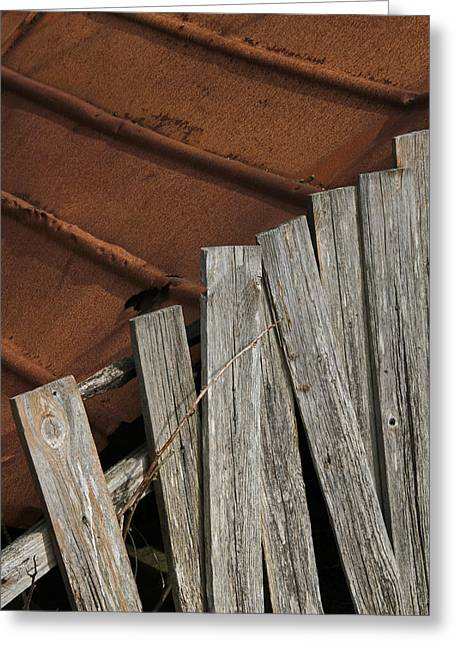 Rusty Tin Roof Greeting Cards - Deconstruction Greeting Card by Odd Jeppesen