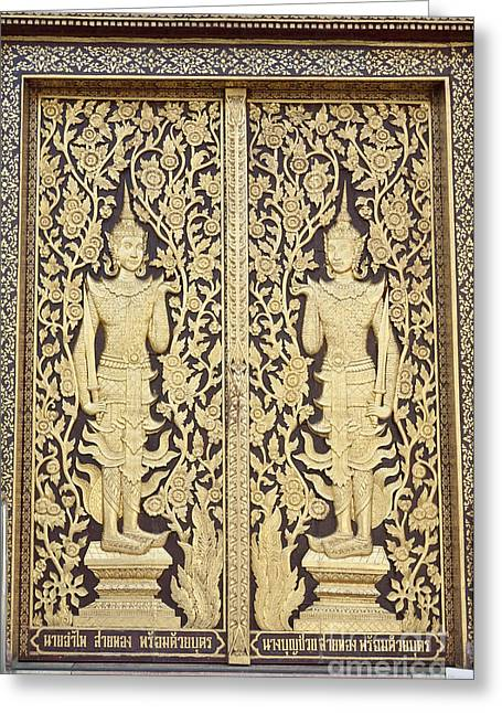 Kham Greeting Cards - Decorated door at Wat Dok Kham temple in Chiang Mai Greeting Card by Roberto Morgenthaler