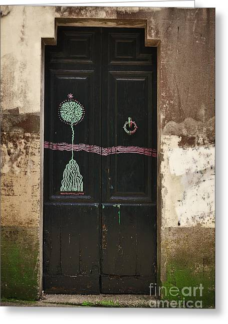 Moss Green Greeting Cards - Decorated Door Greeting Card by Mary Machare