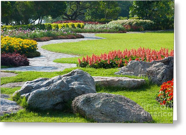 Yard Decorations Greeting Cards - Decoration In Park Greeting Card by Atiketta Sangasaeng
