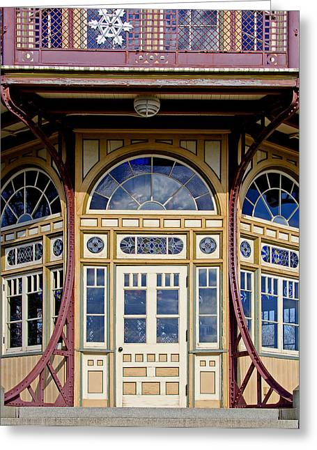 Entrance Door Greeting Cards - Decorative Doorway on the Pagoda at Patterson Park - Baltimore Greeting Card by Brendan Reals