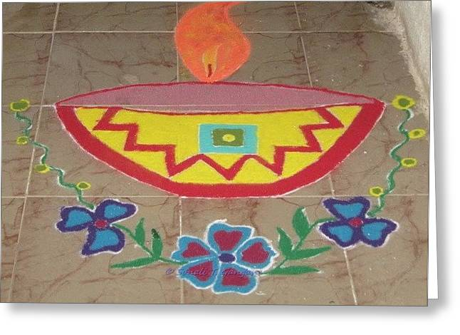 Decorative earthen Diya Rangoli Greeting Card by Sonali Gangane