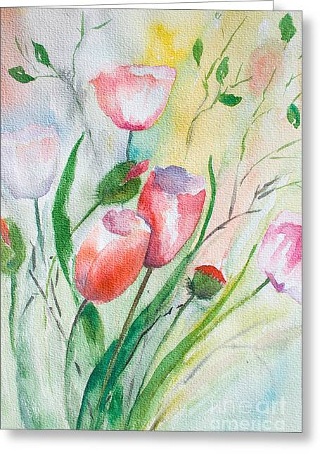 Stamen Paintings Greeting Cards - Decorative floral background Greeting Card by Regina Jershova