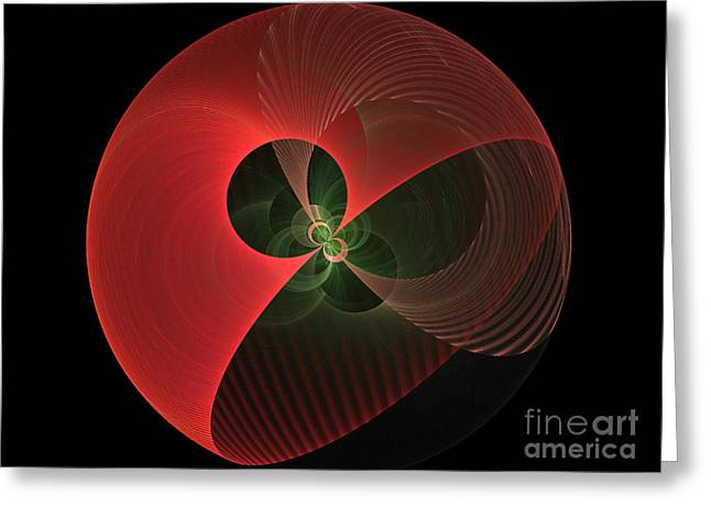 Fractal Globes Greeting Cards - Decorative Globe Of Red Greeting Card by Deborah Benoit