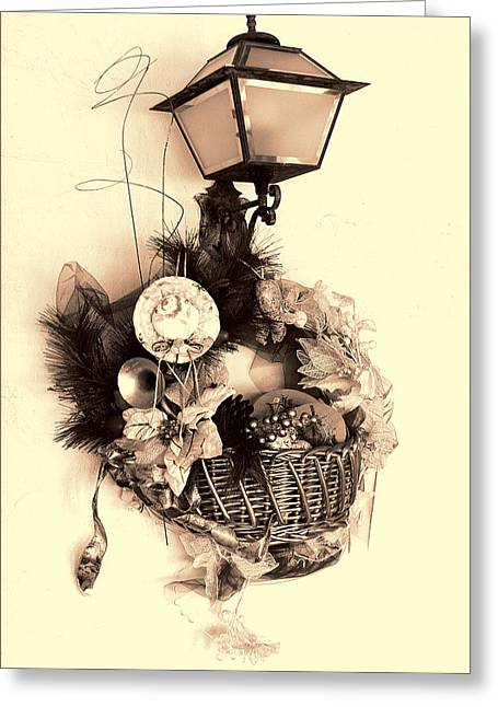 Decorative Holiday Basket With Lamp Greeting Card by Linda Phelps