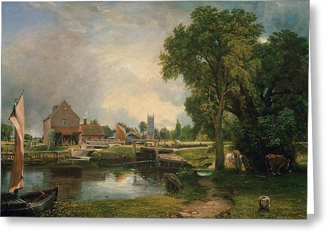 Constable Paintings Greeting Cards - Dedham Lock and Mill Greeting Card by John Constable