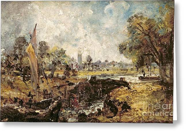 Constable Paintings Greeting Cards - Dedham Lock Greeting Card by John Constable