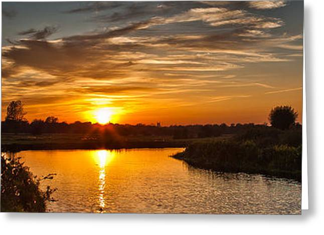 Vale Greeting Cards - Dedham Vale at sunset Greeting Card by Allan Heighway