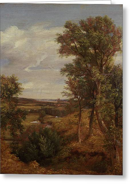 Constable Paintings Greeting Cards - Dedham Vale Greeting Card by John Constable