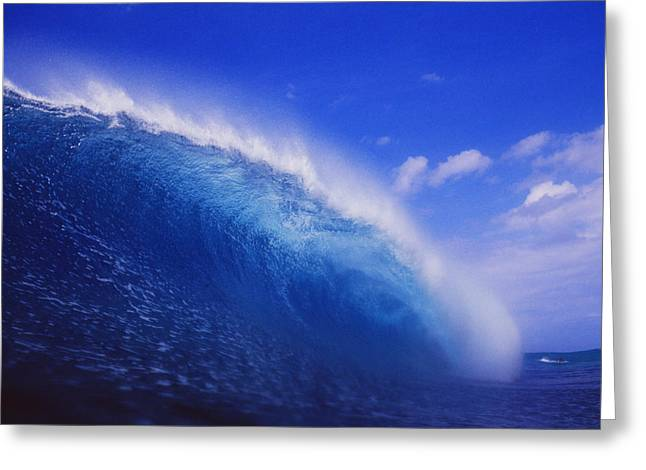 Vince Greeting Cards - Deep Blue Wave Curls Greeting Card by Vince Cavataio - Printscapes