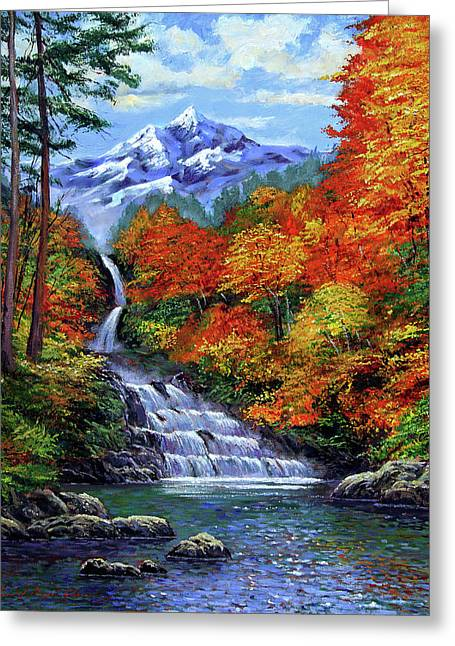 Quality Greeting Cards - Deep Falls in Autumn Greeting Card by David Lloyd Glover
