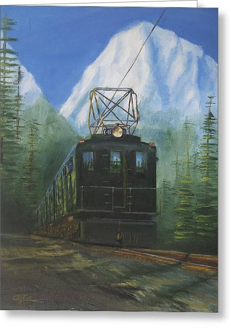 Electric Train Greeting Cards - Deep in the Cascades Greeting Card by Christopher Jenkins