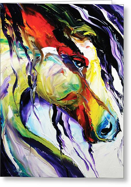 Contemporary Horse Greeting Cards - Deep Memories Greeting Card by Laurie Pace
