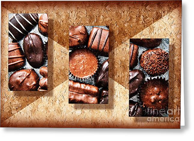 Assorted Mixed Media Greeting Cards - Deep Rich Chocolates Triptych Greeting Card by Andee Design