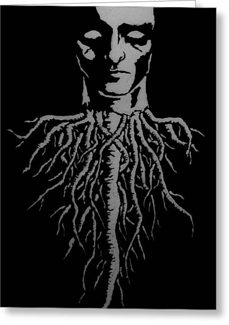 Man Tapestries - Textiles Greeting Cards - Deep Roots Greeting Card by Shae Meyer