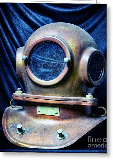 Hard Hat Greeting Cards - Deep Sea Dive Helmet Greeting Card by Paul Ward