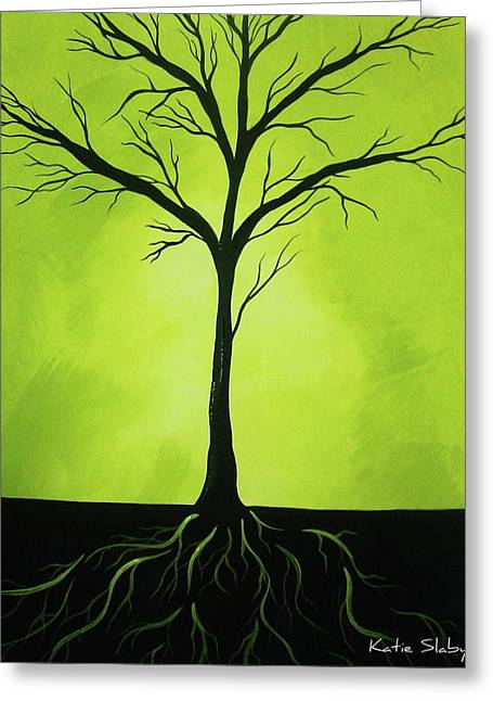 Tree Roots Paintings Greeting Cards - Deeply Rooted Greeting Card by Katie Slaby