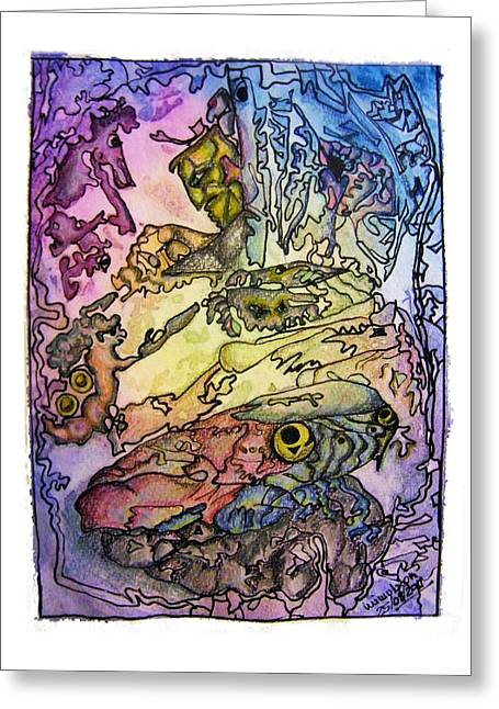 Fantasy World Paintings Greeting Cards - Deepsea Kritters Greeting Card by Mimulux patricia no