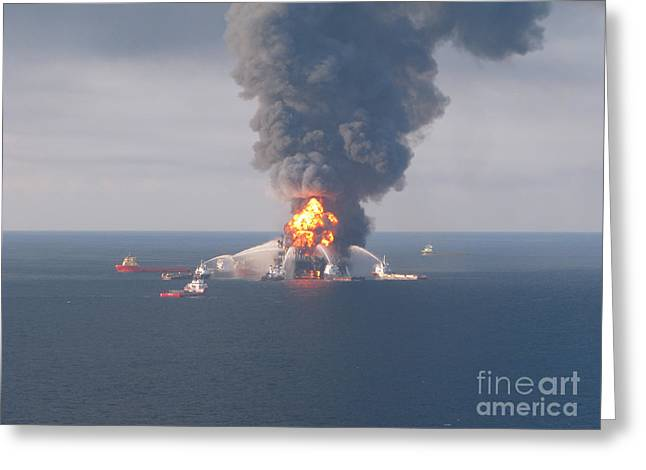 Toxic Waste Greeting Cards - Deepwater Horizon Fire, April 21, 2010 Greeting Card by Science Source